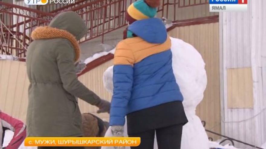 Село Мужи окутала снежная сказка