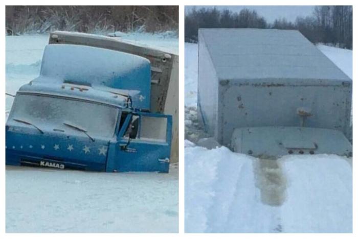 НаЯмале два грузового автомобиля провалились под лёд назакрытом зимнике